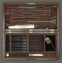 Autopsy kit used in President Abraham Lincoln's autopsy, April 15, 1865. At the White House, an autopsy was performed by Army Surgeons Edward Curtis and Joseph Janvier Woodward. Also in attendance were Surgeon General Joseph K. Barnes and a few military officers, medical men and friends. During the autopsy Mary Todd Lincoln sent a messenger to request a lock of hair; a tuft was clipped from the head for her. National Museum of American History, Behring Center, Smithsonian Institution