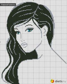 woman face cross stitch