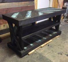 What a great way to add rustic charm to your entryway. This entryway table was custom made 60Lx28Tx22W with dark walnut stain with hints of blues. *Contact us for shipping quote **All items are one of