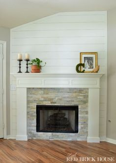 Fireplace Makeover – Guest Post – Making it in the Mountains – farmhouse fireplace tile Fireplace Update, Shiplap Fireplace, Farmhouse Fireplace, Home Fireplace, Fireplace Remodel, Fireplace Surrounds, Fireplace Design, Fireplace Mantels, Fireplace Makeovers