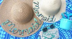 DIY Summer Mermaid Hats: perfect craft idea for a mermaid themed party! #thursdayparties #thursdaymermaidstyle #mermaidparties #DIY #memrmaidDIY #summer