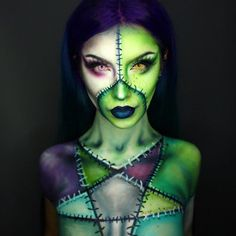 💚🧙♀️ You guys wanted to see something Frankenstein or Witchy, so I thought why not mash them together! Wearing my new badass hair dyed by 🖤 See the transformation on my story! Wearing contacts in Avatar and Enchanted pink! Unique Halloween Makeup, Halloween Makeup Witch, Halloween Cosplay, Halloween 2019, Halloween Havoc, Family Halloween, Halloween Ideas, Halloween Costumes, Maquillage Halloween Simple