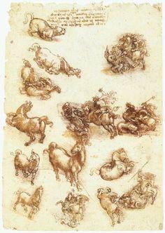 Study sheet with horses by Leonardo da Vinci #art