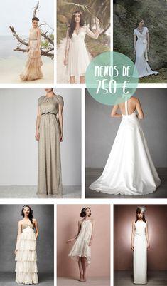Una selección de 25 vestidos para novias que van desde los 50 euros a los 750 euros. ¡Las bodas sí pueden ser baratas!