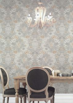 KARAT Colemans Wallpaper - an elegant floral and damask design wallpaper with a metallic and glitter finish #homedecor #wallpaper #home