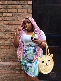 Amina Mucciolo - Mint Green Skirt- Modcloth Cat bag