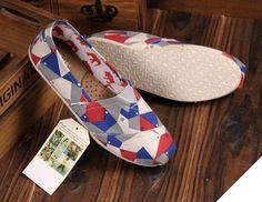 One For One, Toms Shoes Grey Blue Red Canvas Womens Vegan Classics