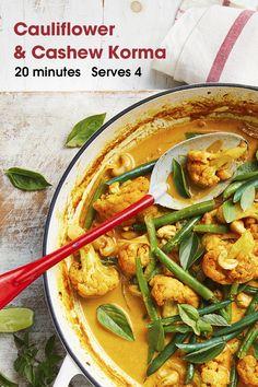 Healthy Mummy Recipes, Tasty Vegetarian Recipes, Curry Recipes, Vegetable Recipes, Vegetable Korma Recipe, Indian Food Recipes, Whole Food Recipes, Cooking Recipes, Cauliflower Recipes