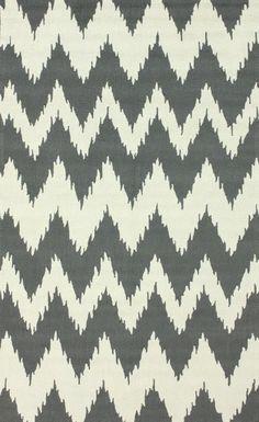 "Rugs USA Radiante Nuo Chevron Ikat Soft Grey Polyester Rug 8'3"" x 11' $553.30"