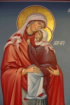 Anna and the Theotokos My Patron Saints Religious Images, Religious Icons, Religious Art, Byzantine Icons, Byzantine Art, Images Of Mary, Sign Of The Cross, Queen Of Heaven, Russian Icons