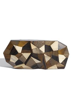 OMG!!  Look at this clutch!!  Rich-grained wood patchwork with a magnetic closure!!