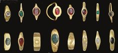 Lot of 16 Roman gold rings, c. 1st century B.C.-3rd century A.D., set with emeralds, garnet, carnelian and jasper (some engraved)