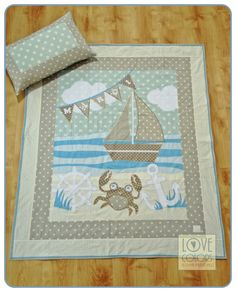 sea style baby quilt with pillow, sand colours, beige, blue, ivory, crab, boat, anchor Love Colors by Julianna Rencés Kovács https://www.facebook.com/LoveColorsByJuliannaRencesKovacs