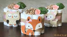 Pink Woodland Diaper Cake, Baby Shower Centerpiece, Baby Shower Decor Gift, Baby Girl Forest Animals Pink Fox Deer Owl, Set of 3, 1 Tier by ThePoshToosh on Etsy https://www.etsy.com/listing/544919404/pink-woodland-diaper-cake-baby-shower