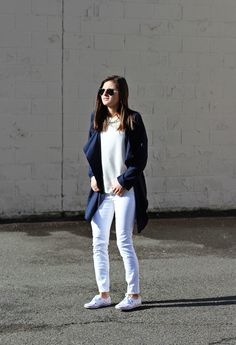 In The Navy | #Keds for #KateSpade paint splatter sneakers, navy trench duster/blazer, white jeans, all-white outfit, spring fashion, spring outfit ideas, NYC street style, fashion blogger #tobebright