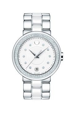 Movado 'Cerena' Diamond Case Ceramic & Steel Bracelet Watch, 36mm available at #Nordstrom