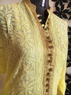 Beautiful chikankari in georgette By Sara closet Kurta Designs Women, Kurti Neck Designs, Indian Dresses, Indian Outfits, Lucknowi Kurta, Chikankari Suits, Kurta Patterns, Recycled Dress, Hand Embroidery Dress