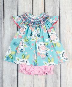 Stellybelly Aqua & Pink Smocked Angel-Sleeve Top & Bloomers - Infant | zulily