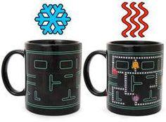 Heat-Sensitive Coffee Cups display Pacman when heated!! Ultimate coffee mug!