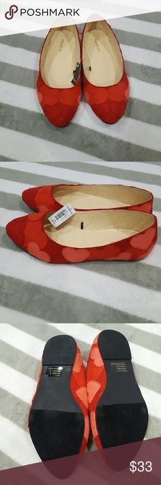 Torrid Sz 9 Wide Hearts Flats Valentine's Red Rare Highly sought after Red Hearts flats from Torrid. These are size 9 wide. Perfect for Valentine's day. New with tags. Rare and Will go fast. torrid Shoes Flats & Loafers