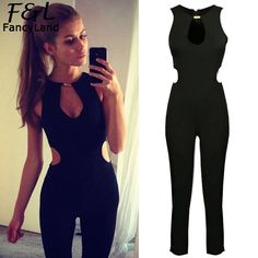 db64b520f3a70 Alishebuy Rompers Womens Jumpsuit 2017 Hollow Out High Waist Cut Out  Pockets Back Zipper Sleeveless O Neck Solid Slim Jumpsuits-in Jumpsuits  from Women's ...