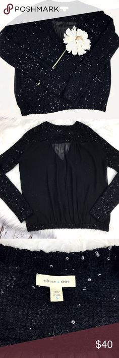 """💕SALE💕Anthropologie Silence & Noise Sweater Amazing Anthropologie Silence & Noise Sweater Sequence in front Sheer in Back Perfect for the Holidays 23"""" from the top of the shoulder to the bottom 22"""" from armpit to armpit 26"""" Sleeve Length Anthropologie Sweaters"""