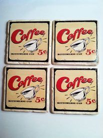 """Coffee 5 cents"" design drink coasters by 5 Creations Handmade Decor"