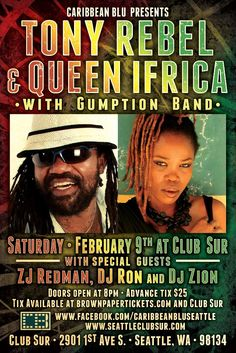 Tony Rebel & Queen iFrica Live at Club Sur - Seattle Reggae
