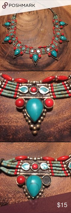 Handmade Tibetan Necklace One stone is missing, see picture. Still very beautiful. Jewelry Necklaces