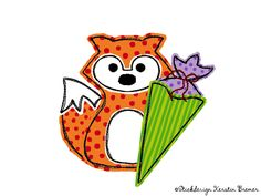 Rene Fuchs mit Schultüte doodle Stickdatei.  First school day. Doodle fox with school cone. Fox appliqué embroidery file for embroidery machines.  #einschulung #kids #sticken