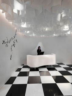 The Club Hotel by Ministry of Design - Singapore. Ceiling treatment and checkered floor!