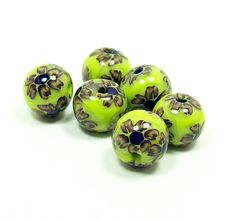 Flowers on Lime Green - Handmade Polymer Clay Beads
