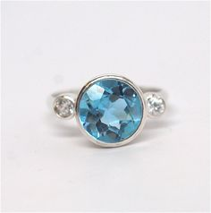 Blue Topaz Swiss Blue Three Stone Diamond Ring by JLaurynDesign
