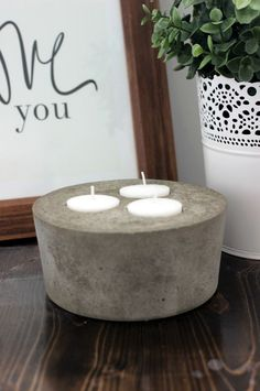 How to Make a Concrete Candle - Perfect rustic and industrial decor!