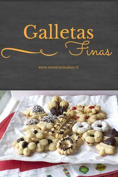 Las galletas finas son tradicionales en las cafeterías en Chile, me encanta pedir un surtido y saborearlo con un rico café. Brownie Cookies, Cupcake Cookies, Cupcakes, Chilean Recipes, Chilean Food, Cookie Recipes, Dessert Recipes, Desserts, Pan Dulce