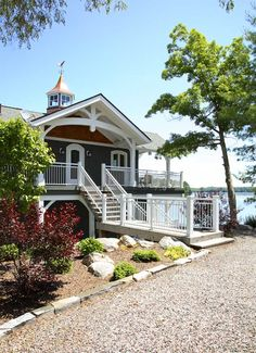 Boathouse-Exterior: Ontario's Lake Muskoka, Muskoka Timber Frame Co. Where our cottage is! Lakeside Living, Coastal Living, Outdoor Living, Coastal Homes, Porches, Villas, Haus Am See, D House, Boat House