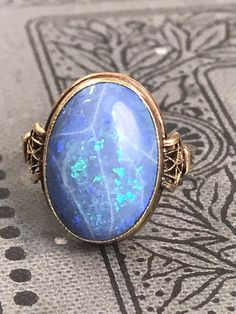 This item is unavailable Blue Opal Ring, Opal Rings, Blue Rings, Gemstone Rings, Silver Rings, Victorian Jewelry, Vintage Jewelry, Sterling Silver Pendants, Opal Jewelry