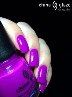 I loooove china glaze nail polish.Are you jelly Neon Purple Nails, Purple Nail Polish, Nail Polish Colors, Great Nails, Fabulous Nails, Hot Nails, Hair And Nails, China Glaze Nail Polish, Garra