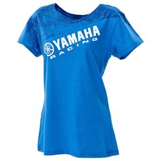 The Women's Yamaha Racing Slant Tee is made of a cotton/poly blend and features…