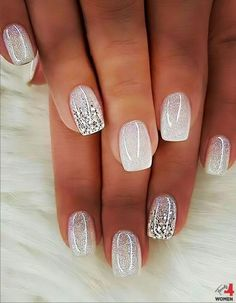 Want some ideas for wedding nail polish designs? This article is a collection of our favorite nail polish designs for your special day. Sexy Nails, Fancy Nails, Pink Nails, Cute Nails, Glitter French Nails, Red Nail, Stylish Nails, Trendy Nails, Holiday Nails