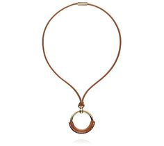 """Petit Loop Hermes leather pendant Barenia calfskin and gold plated<br />19.7"""" long<br />"""