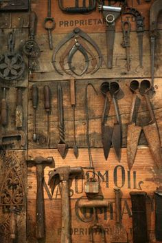 display old tools ideas / display old tools _ display old tools ideas _ display old tools rustic _ how to display old tools _ old kitchen tools display _ ways to display old tools _ old tools decor display _ display old farm tools Antique Tools, Vintage Tools, Vintage Farm, Woodworking Guide, Custom Woodworking, Teds Woodworking, Woodworking Projects, Old Wooden Boxes, Farm Tools