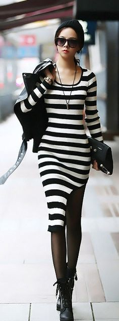 Black and white striped long-sleeve dress #fashion #stripes