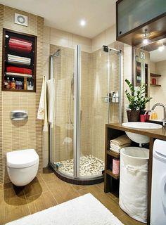 banheiro pequeno com box curvo