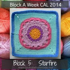 This Starfire crochet square by Melinda Miller is the fifth square in the Official CCC Social Group Block a Week CAL 2014. It is simple and beautiful!