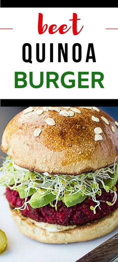 This Beet Burger has a delicate texture and earthy flavors that you will find yourself craving.  With chickpeas and quinoa, this is a veggie burger that really satisfies.  They can be made ahead, making them perfect for your busy work week. Beet Burger, Quinoa Burgers, Salmon Burgers, Green Cleaning Recipes, Sweet Potato Burgers, Burger Recipes, Beets, Gluten Free Recipes, Cravings