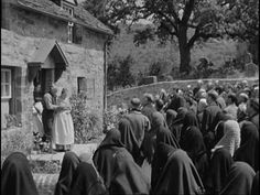 """..Welsh villagers singing """"Myfanwy"""" for Beth as her sons return home in """"How Green Was My Valley"""""""