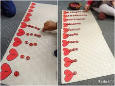 "Add boxes under the hearts for them to fill...do through 5 Number recognition with hearts (free printable) from Rachel ("",)"