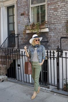 7ba13cf8e07 Denim Jacket with green pants and white panama hat 1 - My Style Pill