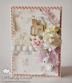 Very girly girl shabby chic / antique Hand made birthday / greetings card for a baby girl, new born girl, christening or invitations using Prima Flowers and bobble trim.